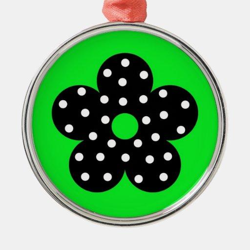 Flor negra del lunar en fondo verde ornaments para arbol de navidad