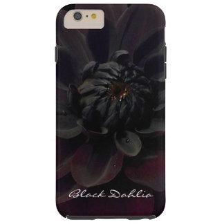 Flor negra floral moderna de la dalia funda para iPhone 6 plus tough