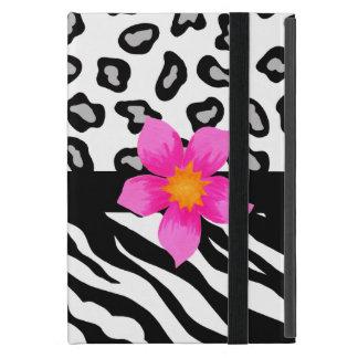 Flor negra y blanca del rosa de la piel de la iPad mini funda
