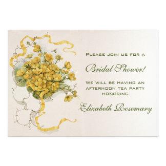 Flor nupcial del amarillo del vintage de la ducha  invitación