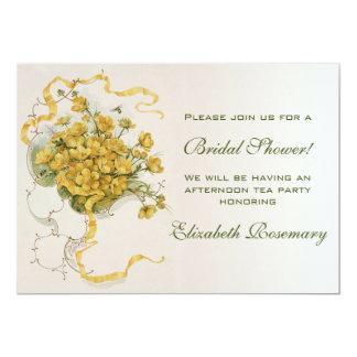 Flor nupcial del amarillo del vintage de la ducha invitación 12,7 x 17,8 cm