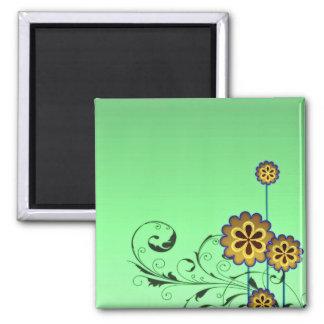 Flor pardusco y remolinos verdosos imán cuadrado
