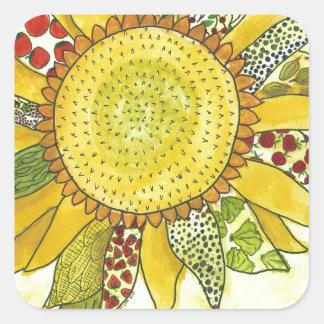 flor pegatina cuadrada