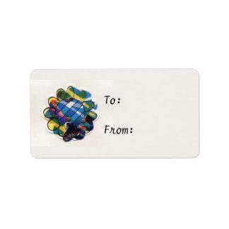 Flor pelada azul etiqueta de dirección