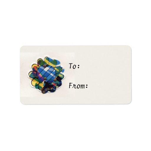 Flor pelada azul etiquetas de dirección