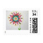 """Flor pequeña, 1,8"""" de la mandala x 1,3"""", postal timbres postales"""