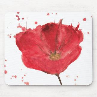 Flor pintada 2 de la amapola de la acuarela alfombrilla de ratón