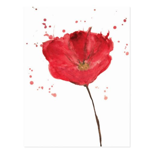 Flor pintada 2 de la amapola de la acuarela postales