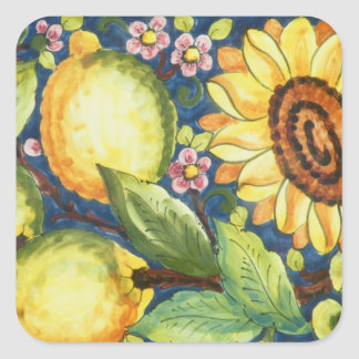 Flor pintada de Sun del arte popular Pegatina Cuadrada