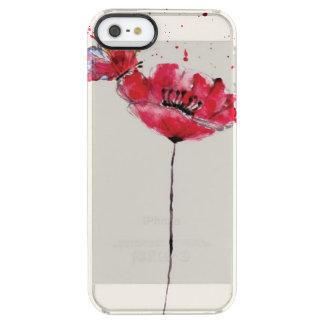 Flor pintada estilizada de la amapola de la funda clear para iPhone SE/5/5s