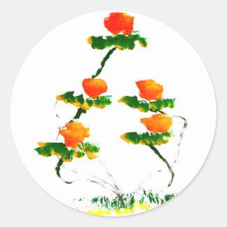 Flor pintada por el elefante etiqueta