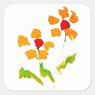Flor pintada por el elefante calcomanía cuadradas personalizadas
