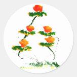 Flor pintada por el elefante pegatinas redondas