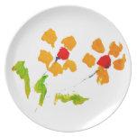 Flor pintada por el elefante plato de cena