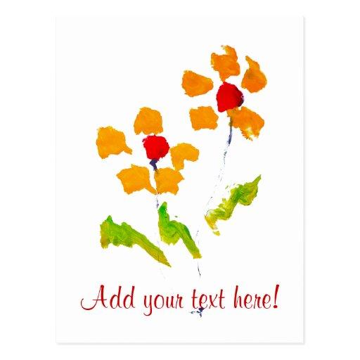 Flor pintada por el elefante tarjeta postal
