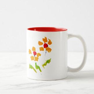 Flor pintada por el elefante taza de café