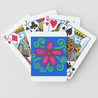 Flor pintada simple de la diversión baraja de cartas bicycle