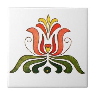 Flor popular húngara azulejo cuadrado pequeño