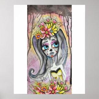 Flor, poster de Dia de los Muertos Póster