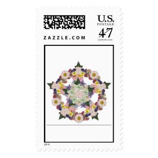 Flor presionada encerrada sellos postales