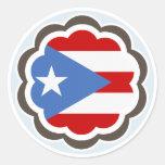 Flor puertorriqueña de la bandera pegatina redonda