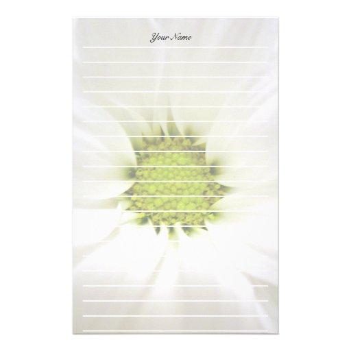 flor pura de la margarita blanca papeleria personalizada