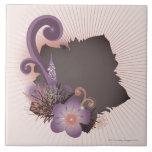 Flor púrpura 2 tejas  cerámicas