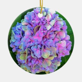 Flor púrpura azul del Hydrangea Adorno Navideño Redondo De Cerámica