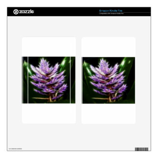 Flor púrpura brillante del fractal kindle fire pegatinas skins