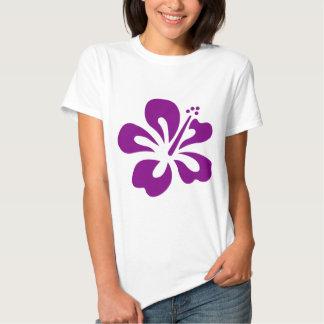 Flor púrpura C de la hawaiana del hibisco Playeras