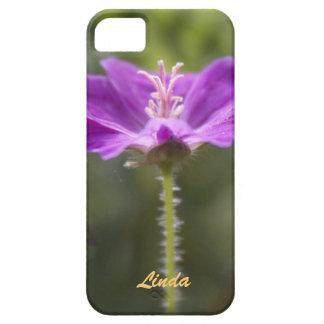 flor púrpura, caja púrpura funda para iPhone 5 barely there