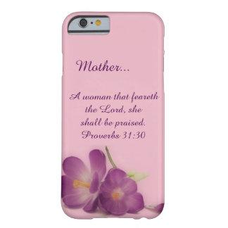 Flor púrpura cristiana de la mujer de encargo de funda de iPhone 6 barely there