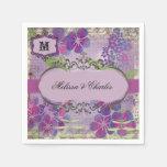 Flor púrpura de la acuarela que casa las servillet servilleta de papel