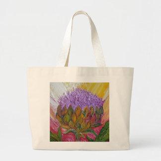 Flor púrpura de la alcachofa bolsa tela grande