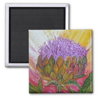 Flor púrpura de la alcachofa imán cuadrado