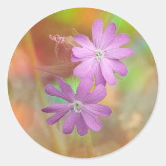 Flor púrpura de la coronaria pegatina redonda