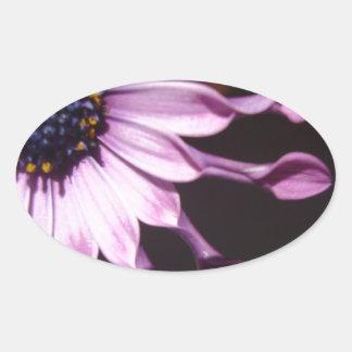 Flor púrpura de la cuchara pegatina ovalada