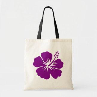 Flor púrpura de la hawaiana del hibisco bolsa lienzo