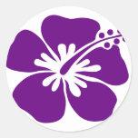 flor púrpura de la hawaiana del hibisco pegatina redonda