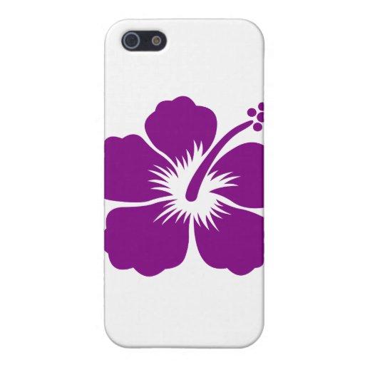 Flor púrpura de la hawaiana iPhone 5 carcasas