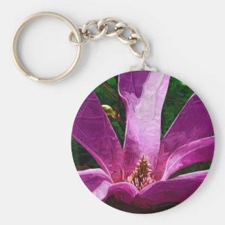 Flor púrpura de la magnolia llavero redondo tipo pin