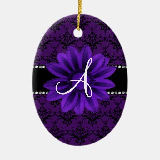 Flor púrpura de la margarita del damasco del monog adorno