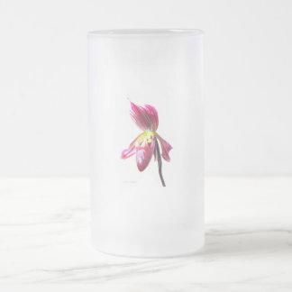 Flor púrpura de la orquídea de deslizador contra l tazas de café