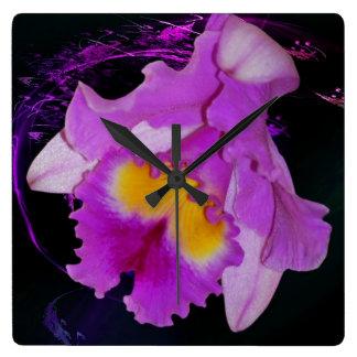 Flor púrpura de la orquídea relojes