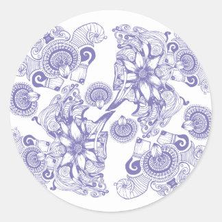 Flor púrpura de la paciencia pegatina redonda