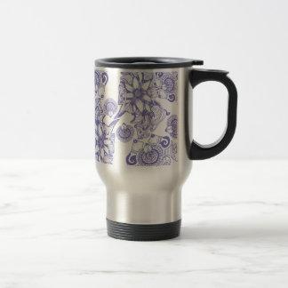 Flor púrpura de la paciencia taza de viaje