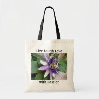 Flor púrpura de la pasión bolsa tela barata