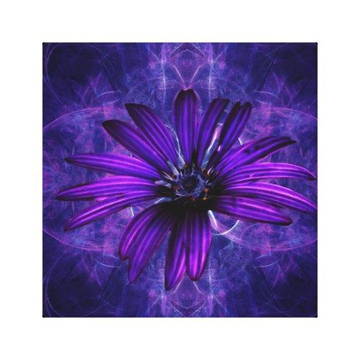 Flor púrpura de la pasión de la margarita lienzo envuelto para galerías