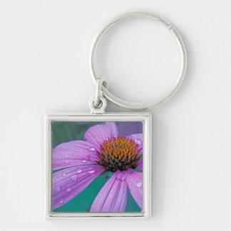 Flor púrpura del cono con descensos del agua llavero cuadrado plateado
