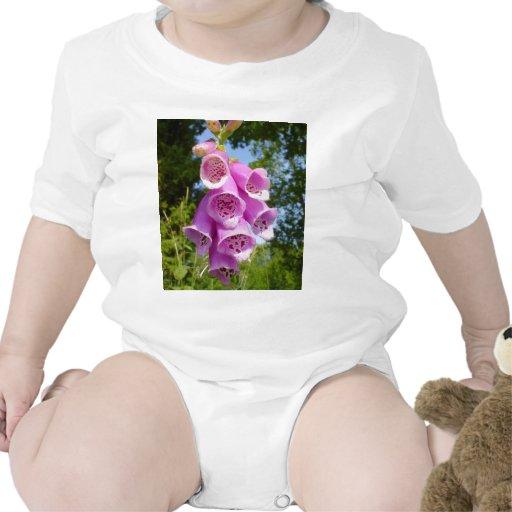 Flor púrpura del dedo en campo trajes de bebé